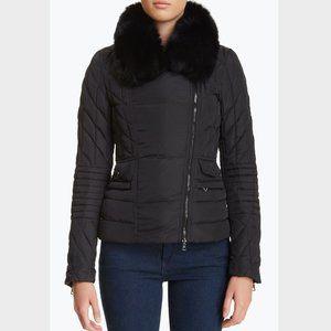 NWT Members Only Fox Fur trim Moto Puffer Jacket